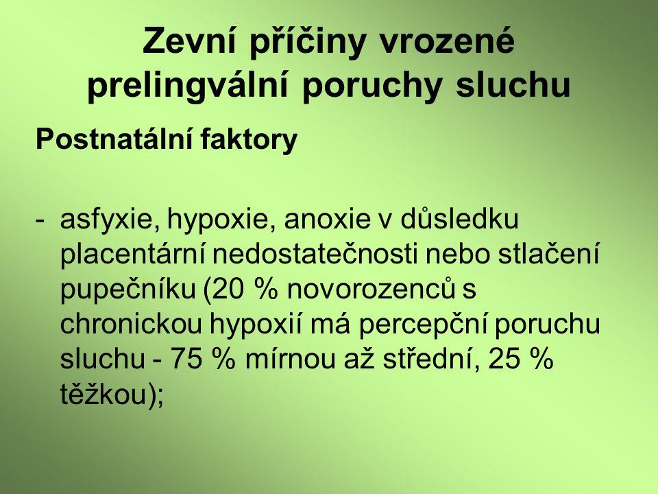 Zevní příčiny vrozené prelingvální poruchy sluchu