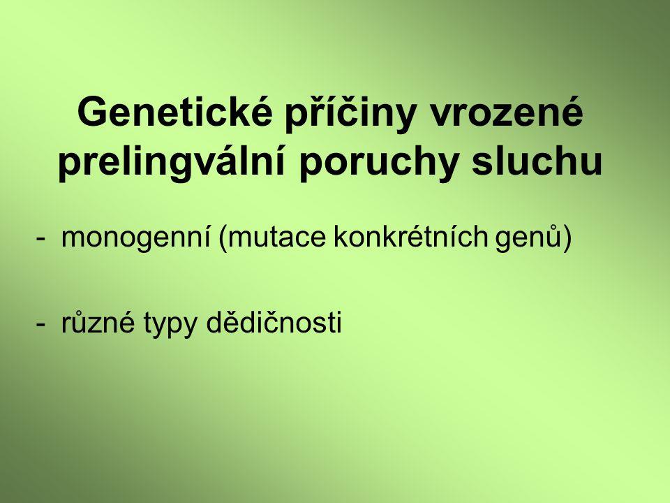 Genetické příčiny vrozené prelingvální poruchy sluchu