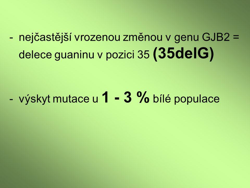 nejčastější vrozenou změnou v genu GJB2 = delece guaninu v pozici 35 (35delG)