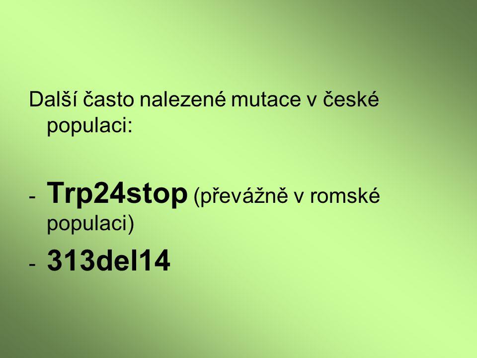 Další často nalezené mutace v české populaci: