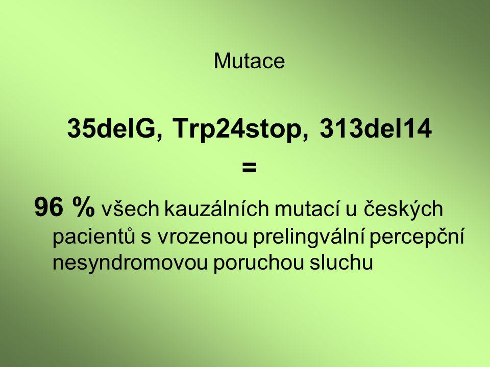 Mutace 35delG, Trp24stop, 313del14. =