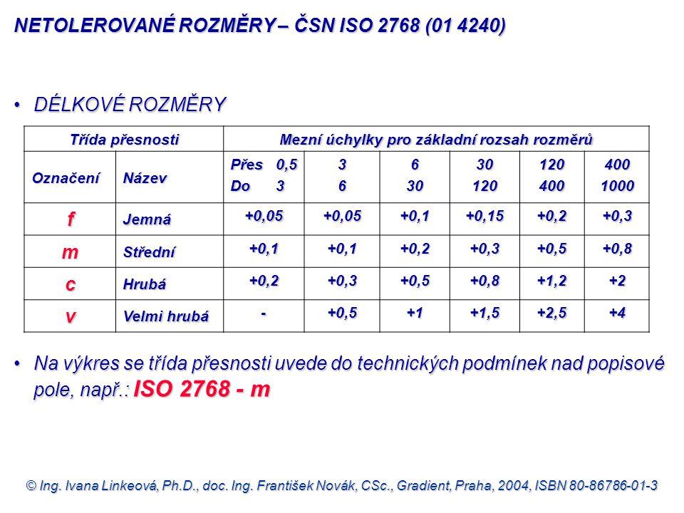 NETOLEROVANÉ ROZMĚRY – ČSN ISO 2768 (01 4240)