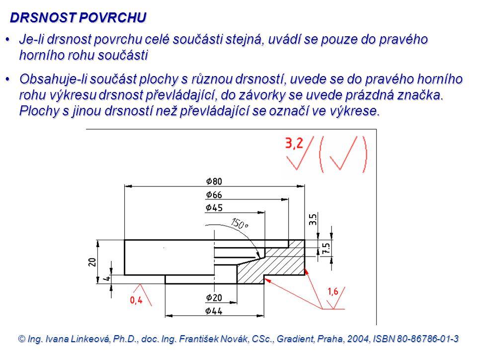 DRSNOST POVRCHU Je-li drsnost povrchu celé součásti stejná, uvádí se pouze do pravého horního rohu součásti.