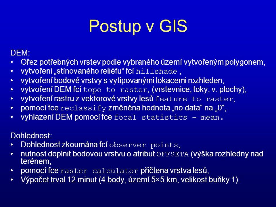 """Postup v GIS DEM: Ořez potřebných vrstev podle vybraného území vytvořeným polygonem, vytvoření """"stínovaného reliéfu fcí hillshade ,"""