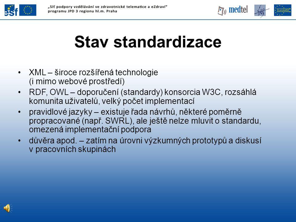 Stav standardizace XML – široce rozšířená technologie (i mimo webové prostředí)