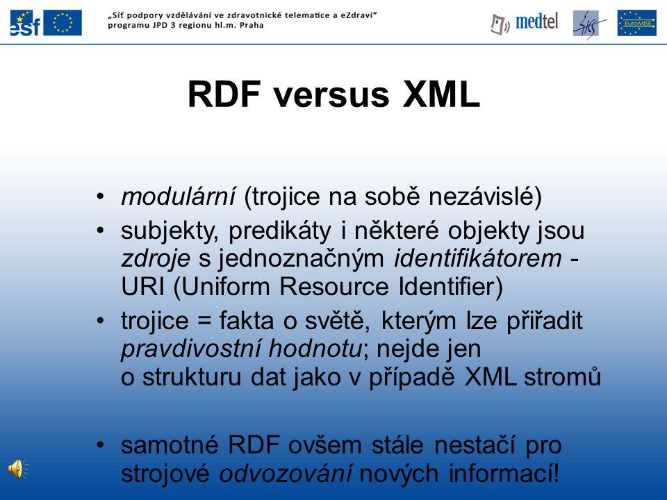 RDF versus XML modulární (trojice na sobě nezávislé)