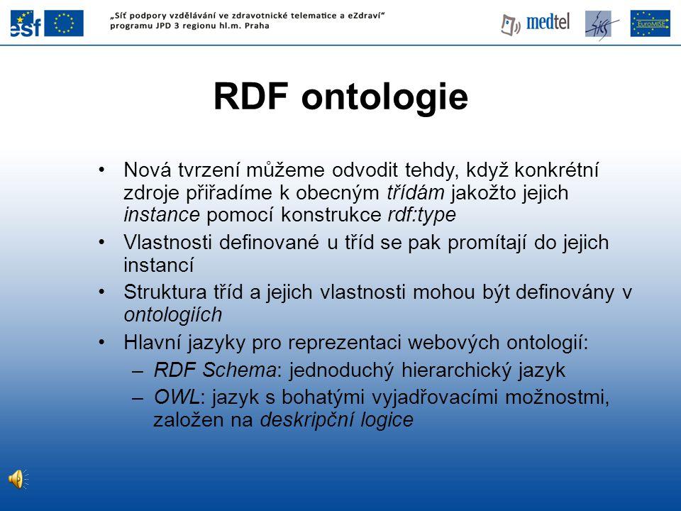 RDF ontologie Nová tvrzení můžeme odvodit tehdy, když konkrétní zdroje přiřadíme k obecným třídám jakožto jejich instance pomocí konstrukce rdf:type.