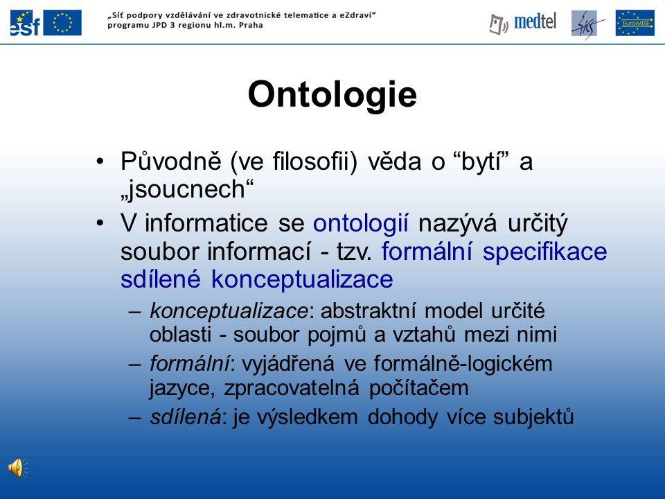 """Ontologie Původně (ve filosofii) věda o bytí a """"jsoucnech"""