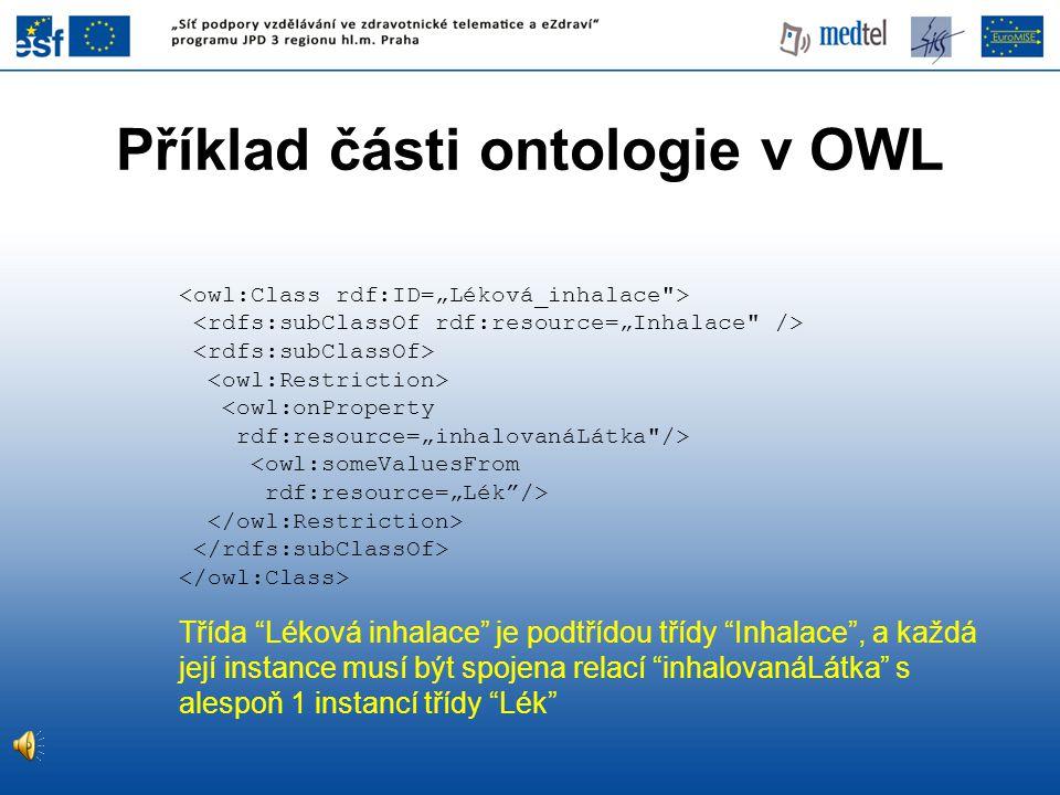 Příklad části ontologie v OWL