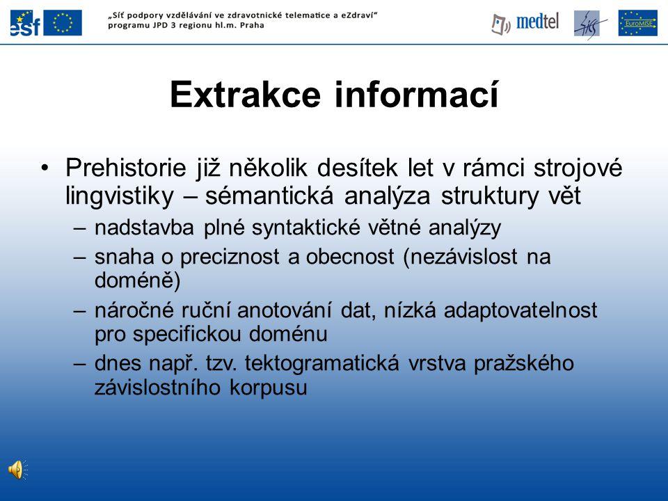 Extrakce informací Prehistorie již několik desítek let v rámci strojové lingvistiky – sémantická analýza struktury vět.