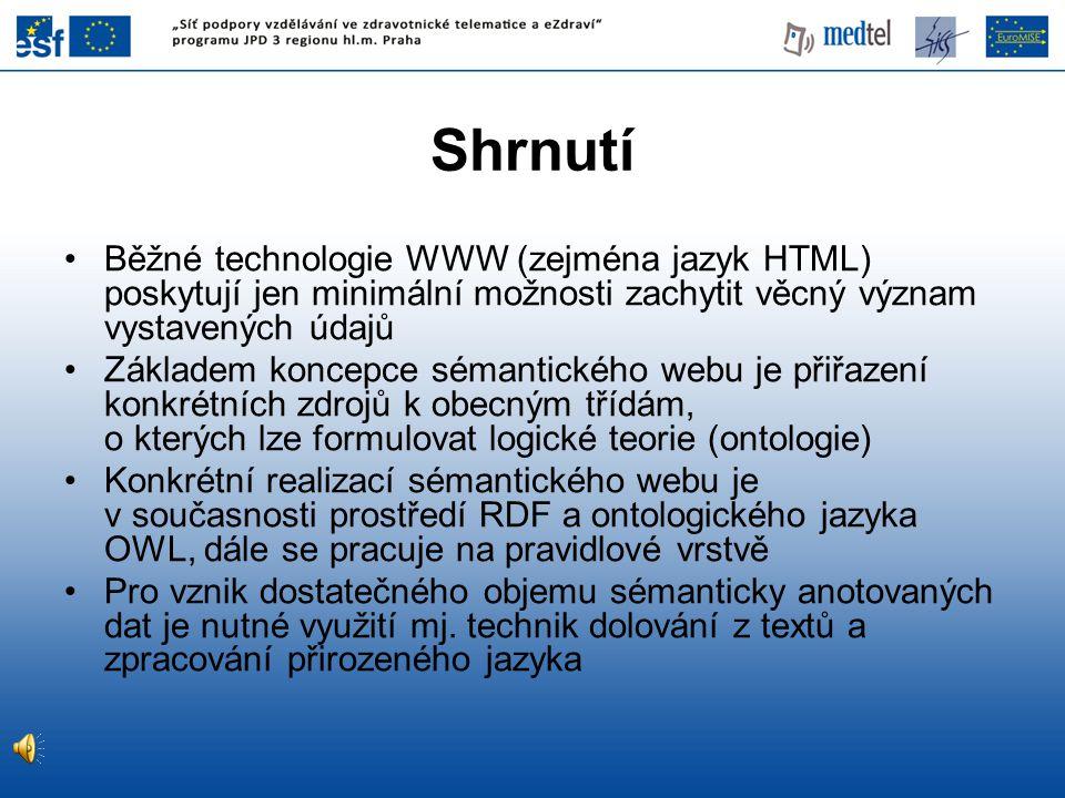 Shrnutí Běžné technologie WWW (zejména jazyk HTML) poskytují jen minimální možnosti zachytit věcný význam vystavených údajů.