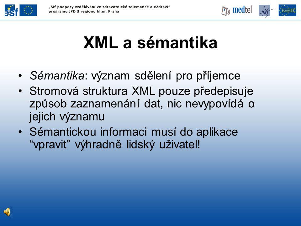 XML a sémantika Sémantika: význam sdělení pro příjemce