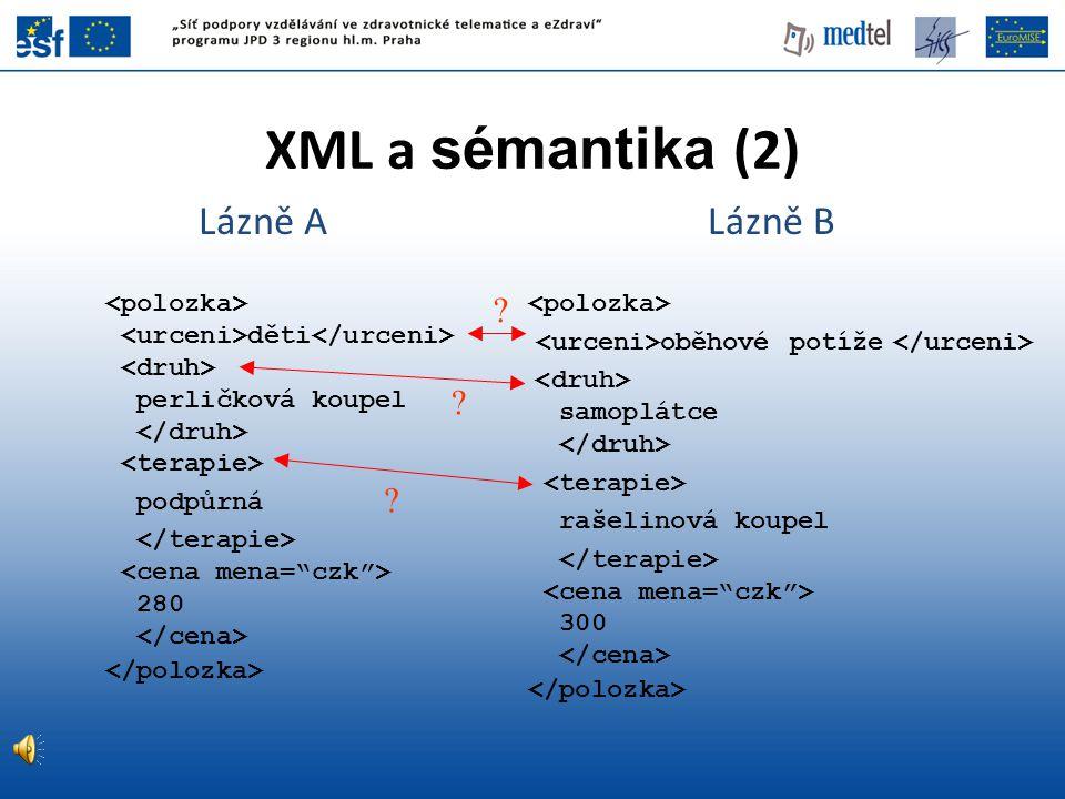 XML a sémantika (2) Lázně A Lázně B