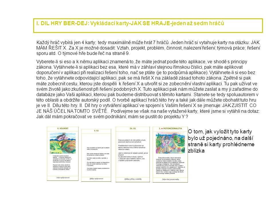 I. DIL HRY BER-DEJ: Vykládací karty-JAK SE HRAJE-jeden až sedm hráčů