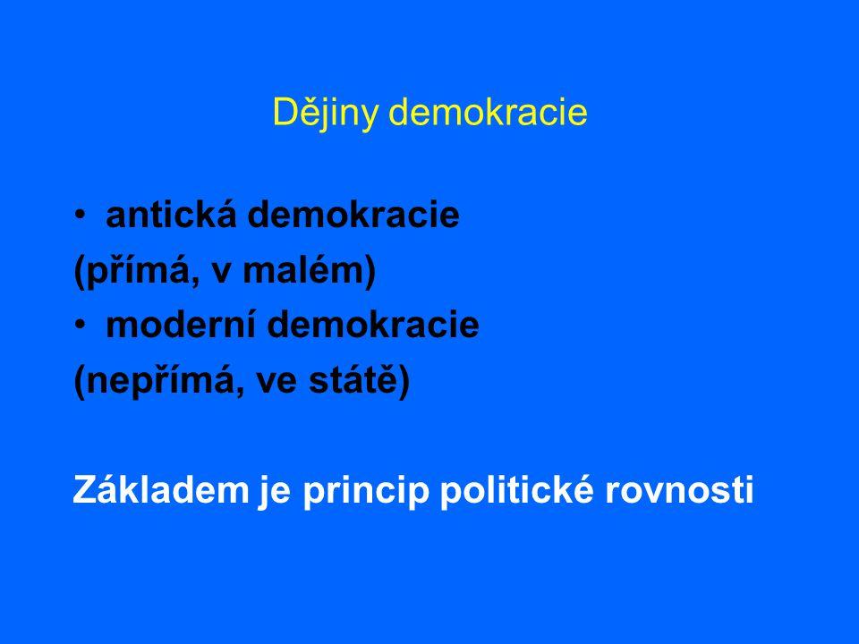 Dějiny demokracie antická demokracie. (přímá, v malém) moderní demokracie.