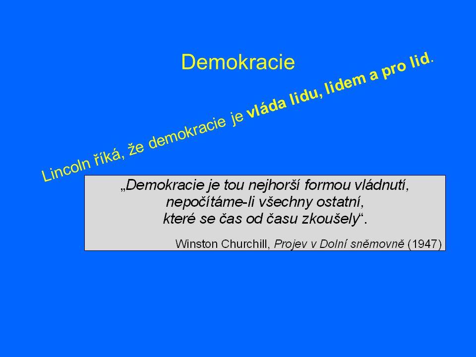 Demokracie Lincoln říká, že demokracie je vláda lidu, lidem a pro lid.