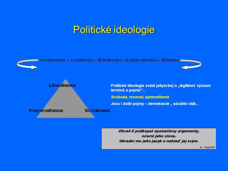 """Politické ideologie Politické ideologie svádí jakýsi boj o """"legitimní význam termínů a pojmů ... Svoboda, rovnost, spravedlnost."""
