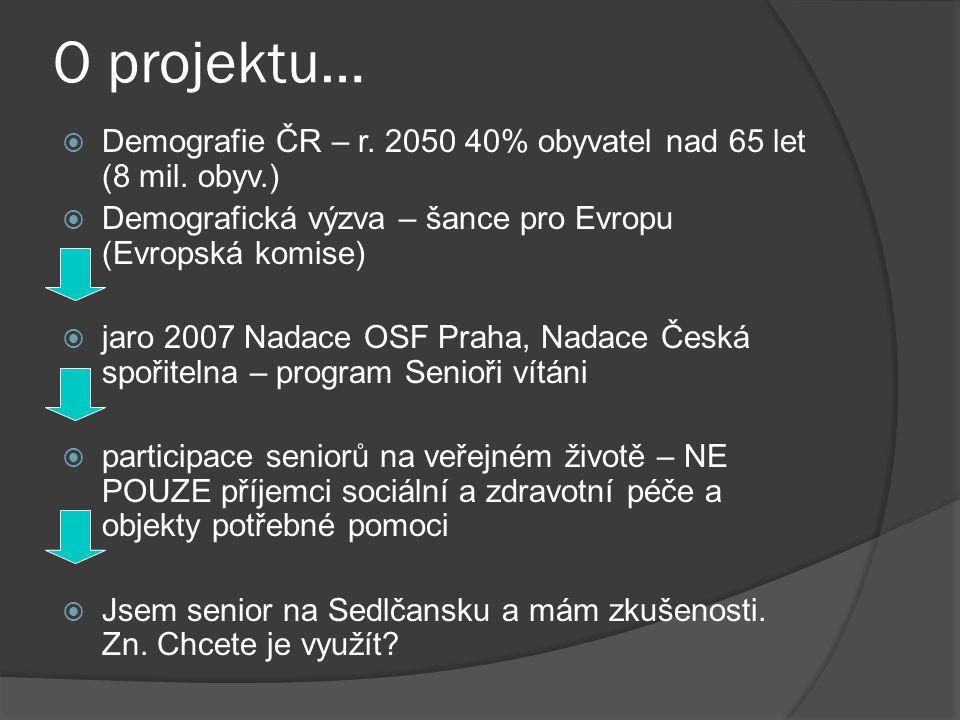 O projektu… Demografie ČR – r. 2050 40% obyvatel nad 65 let (8 mil. obyv.) Demografická výzva – šance pro Evropu (Evropská komise)