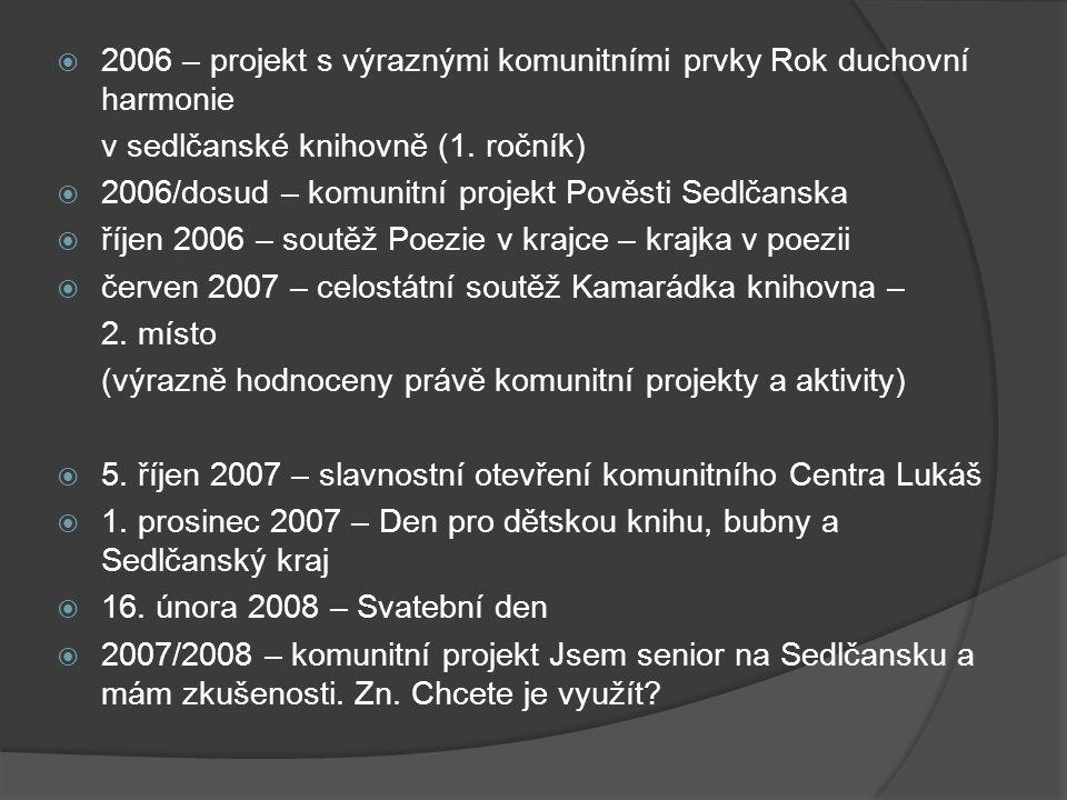 2006 – projekt s výraznými komunitními prvky Rok duchovní harmonie