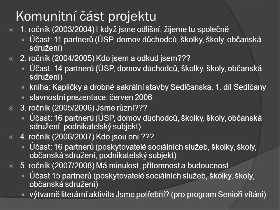 Komunitní část projektu