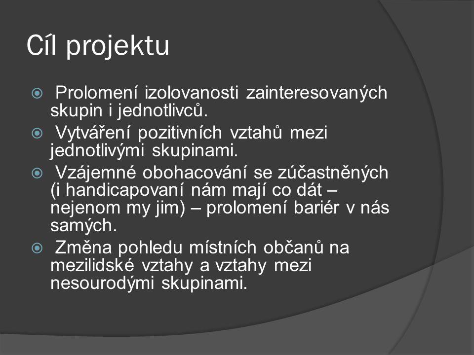 Cíl projektu Prolomení izolovanosti zainteresovaných skupin i jednotlivců. Vytváření pozitivních vztahů mezi jednotlivými skupinami.