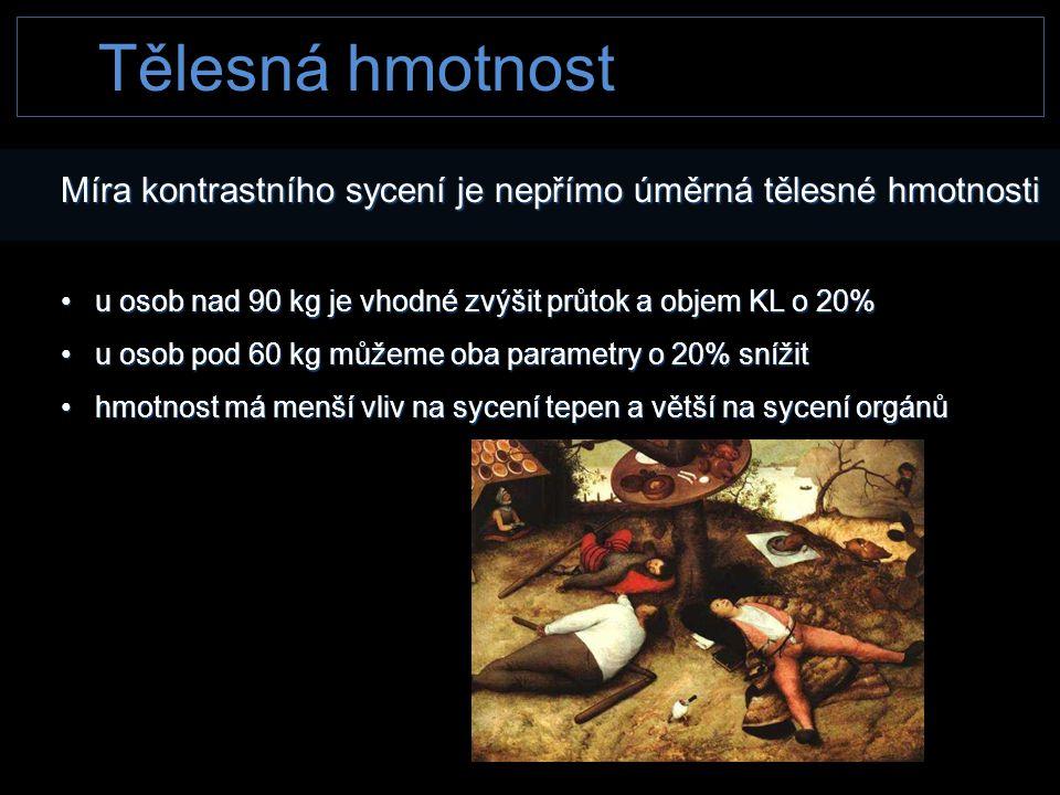 Tělesná hmotnost Míra kontrastního sycení je nepřímo úměrná tělesné hmotnosti. u osob nad 90 kg je vhodné zvýšit průtok a objem KL o 20%
