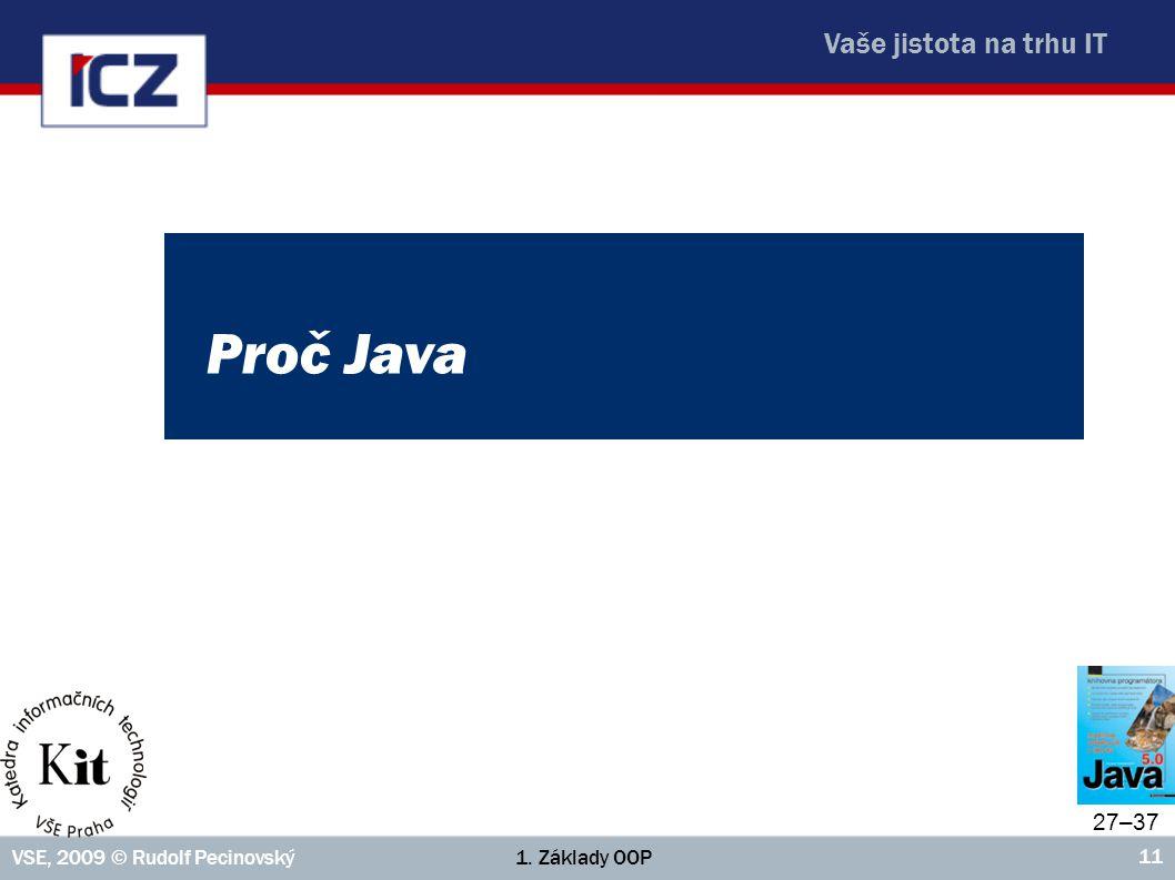 Proč Java 27–37 VSE, 2009 © Rudolf Pecinovský 1. Základy OOP