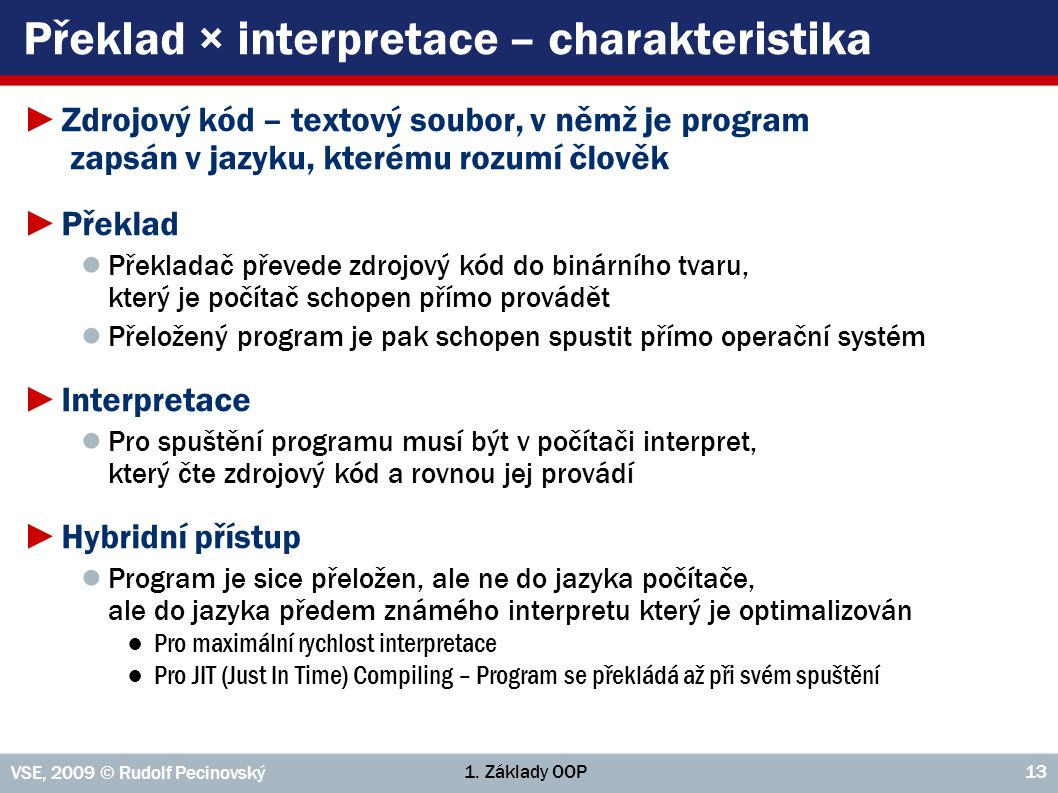Překlad × interpretace – charakteristika