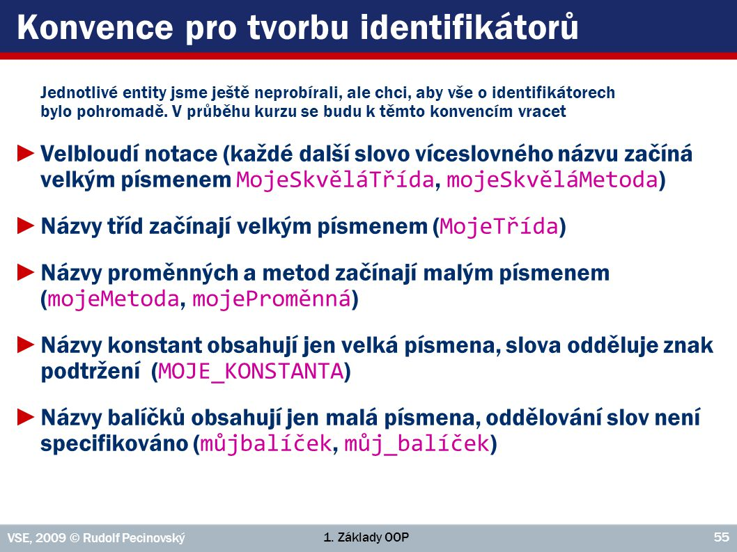 Konvence pro tvorbu identifikátorů