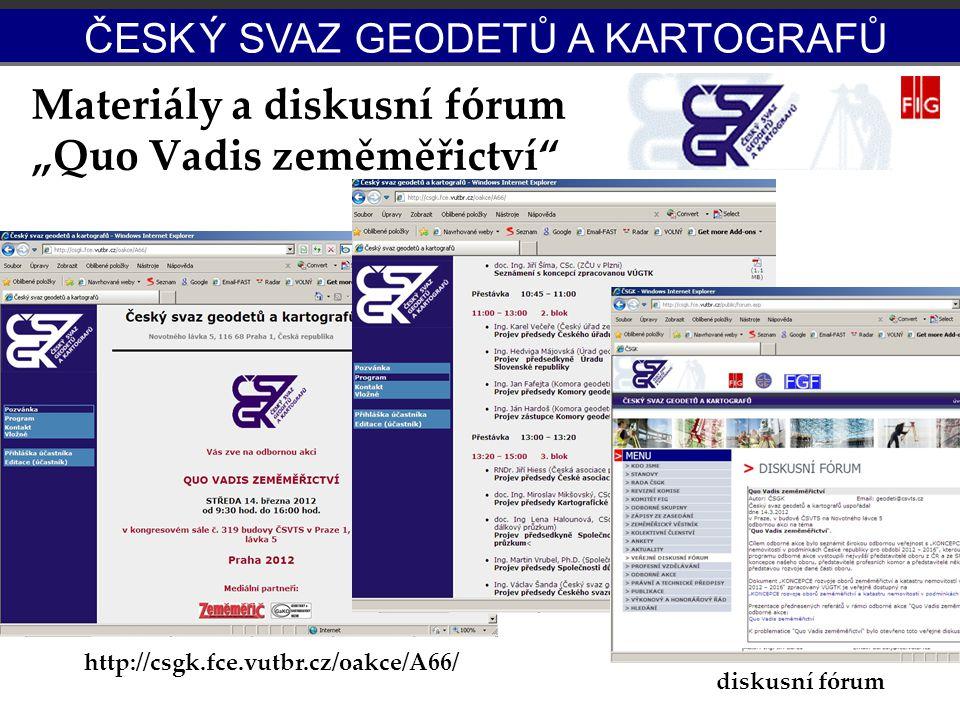 """Materiály a diskusní fórum """"Quo Vadis zeměměřictví"""