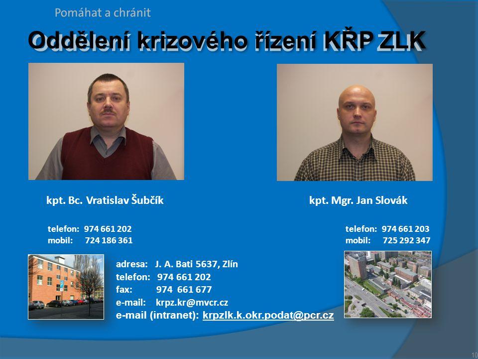 Oddělení krizového řízení KŘP ZLK kpt. Bc. Vratislav Šubčík