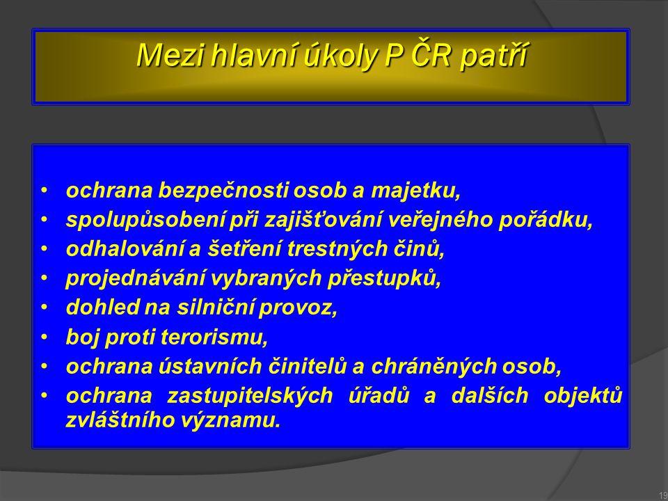 Mezi hlavní úkoly P ČR patří