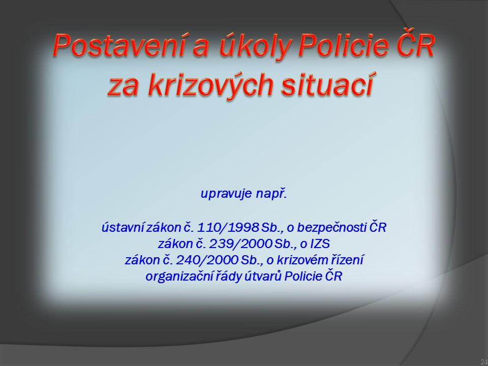 Postavení a úkoly Policie ČR za krizových situací