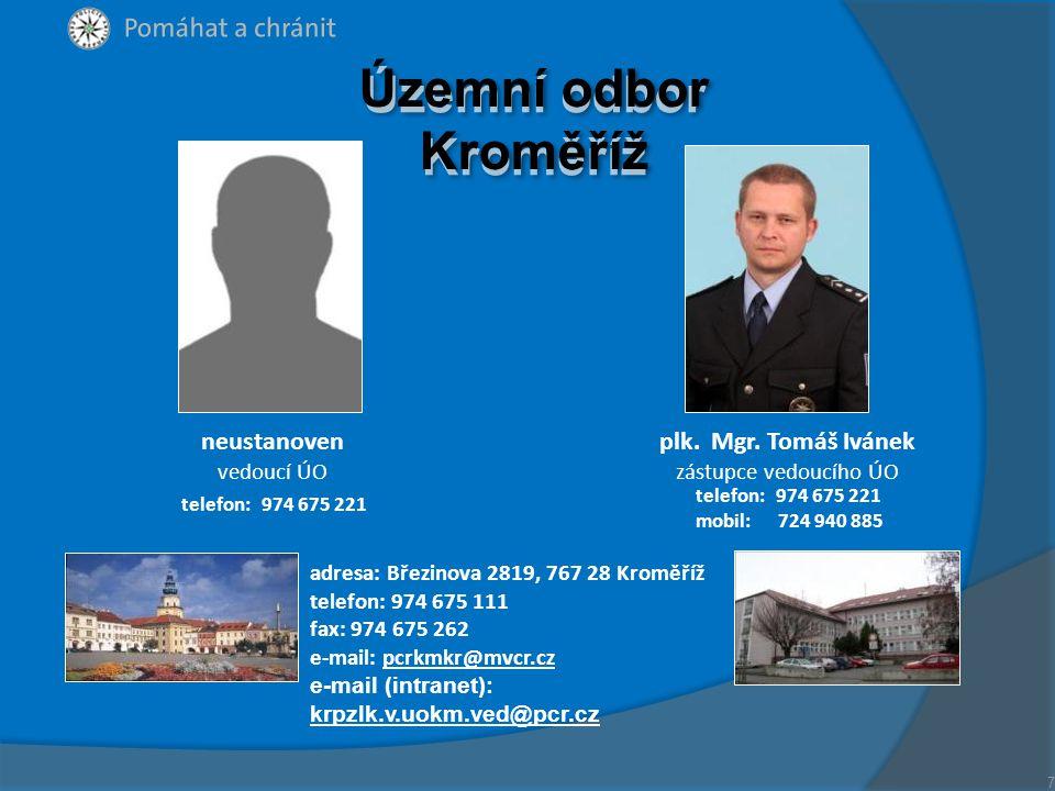 Územní odbor Kroměříž neustanoven plk. Mgr. Tomáš Ivánek vedoucí ÚO