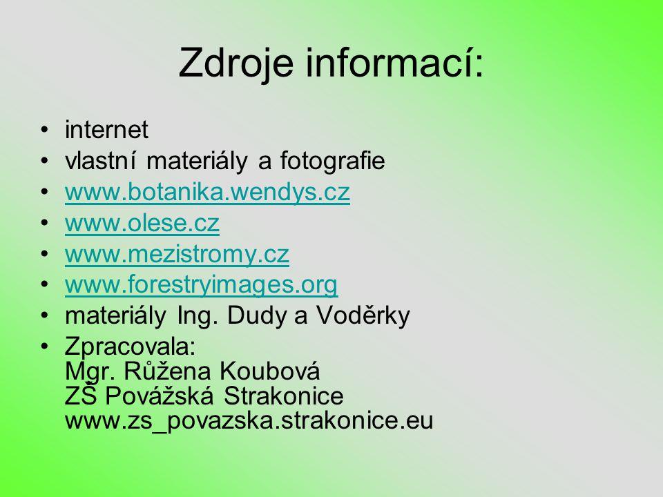 Zdroje informací: internet vlastní materiály a fotografie