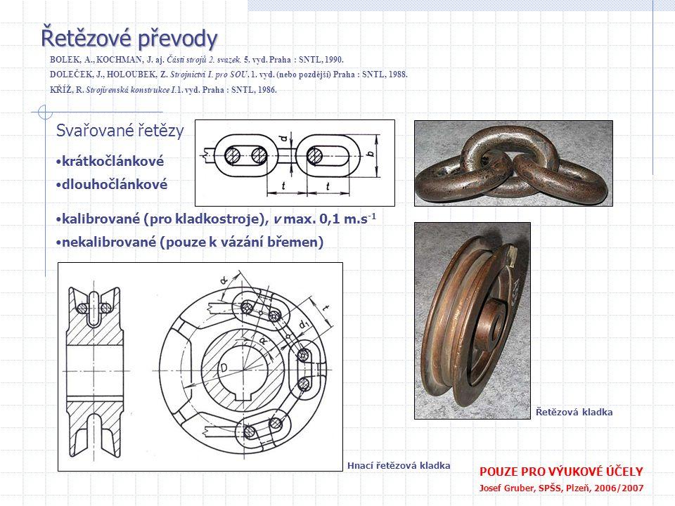 Řetězové převody Svařované řetězy krátkočlánkové dlouhočlánkové