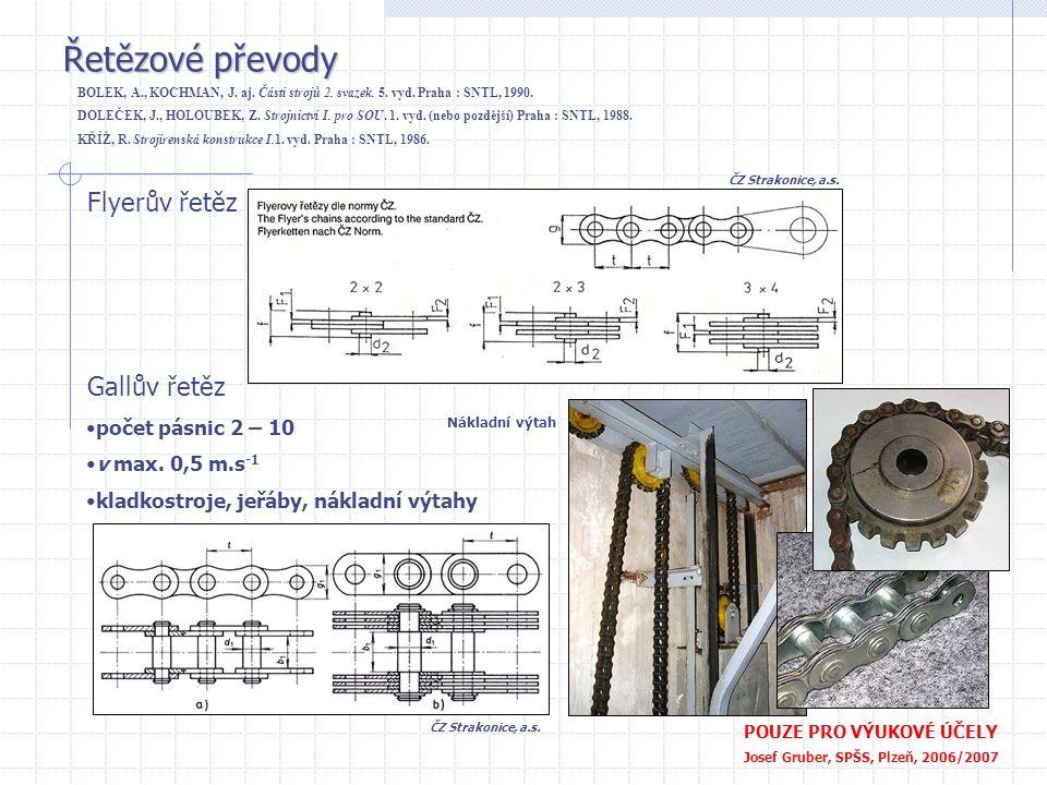 Řetězové převody Flyerův řetěz Gallův řetěz počet pásnic 2 – 10