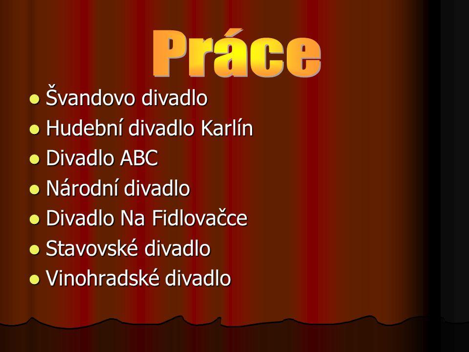 Práce Švandovo divadlo Hudební divadlo Karlín Divadlo ABC