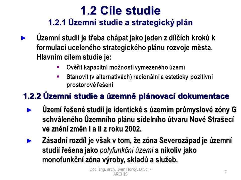 1.2 Cíle studie 1.2.1 Územní studie a strategický plán