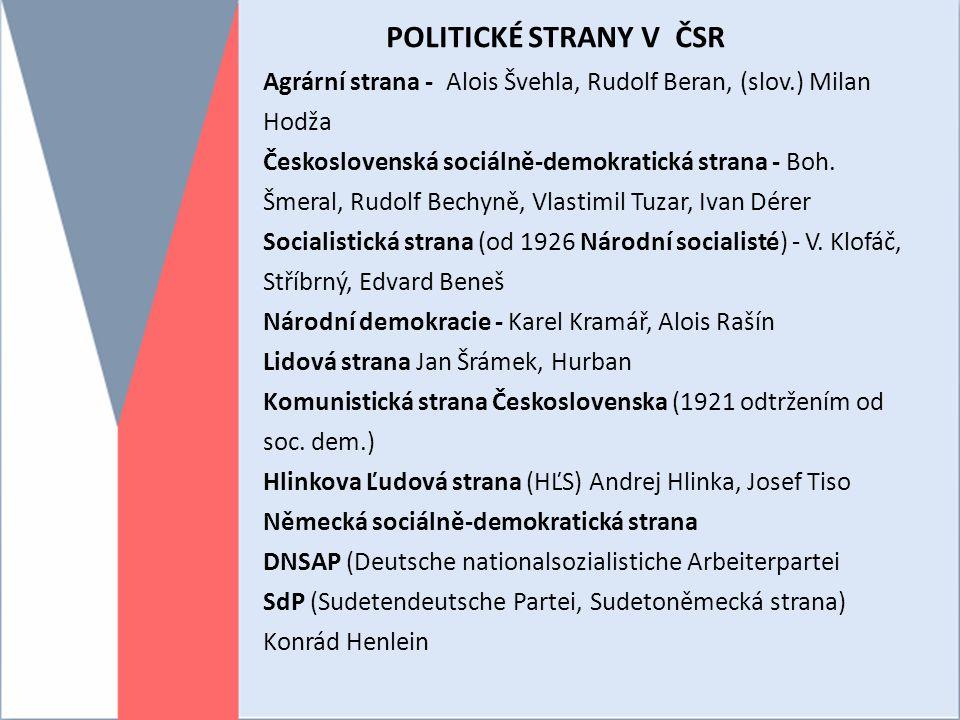 POLITICKÉ STRANY V ČSR Agrární strana - Alois Švehla, Rudolf Beran, (slov.) Milan Hodža.