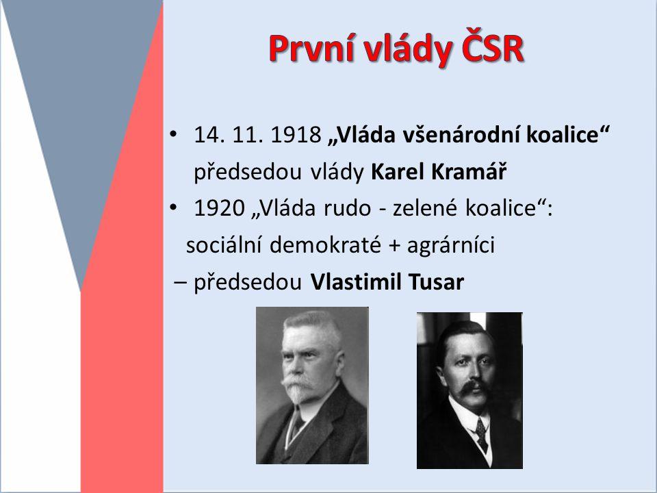 """První vlády ČSR 14. 11. 1918 """"Vláda všenárodní koalice"""