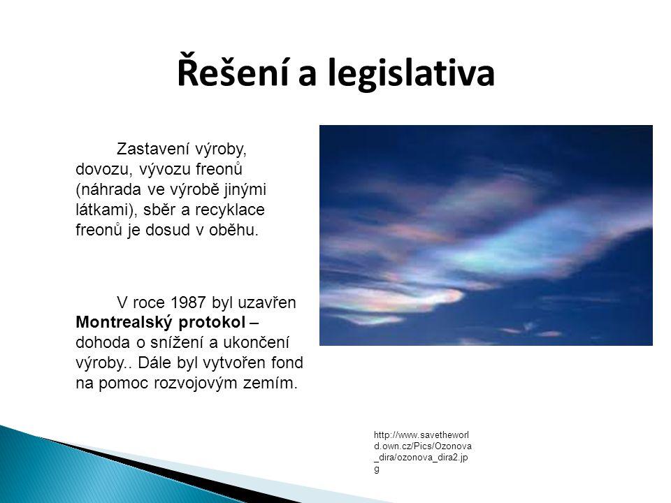 Řešení a legislativa Zastavení výroby, dovozu, vývozu freonů (náhrada ve výrobě jinými látkami), sběr a recyklace freonů je dosud v oběhu.