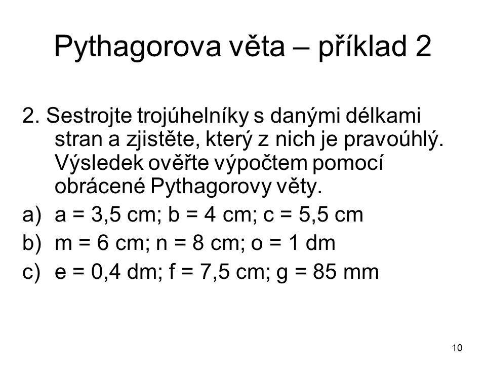 Pythagorova věta – příklad 2