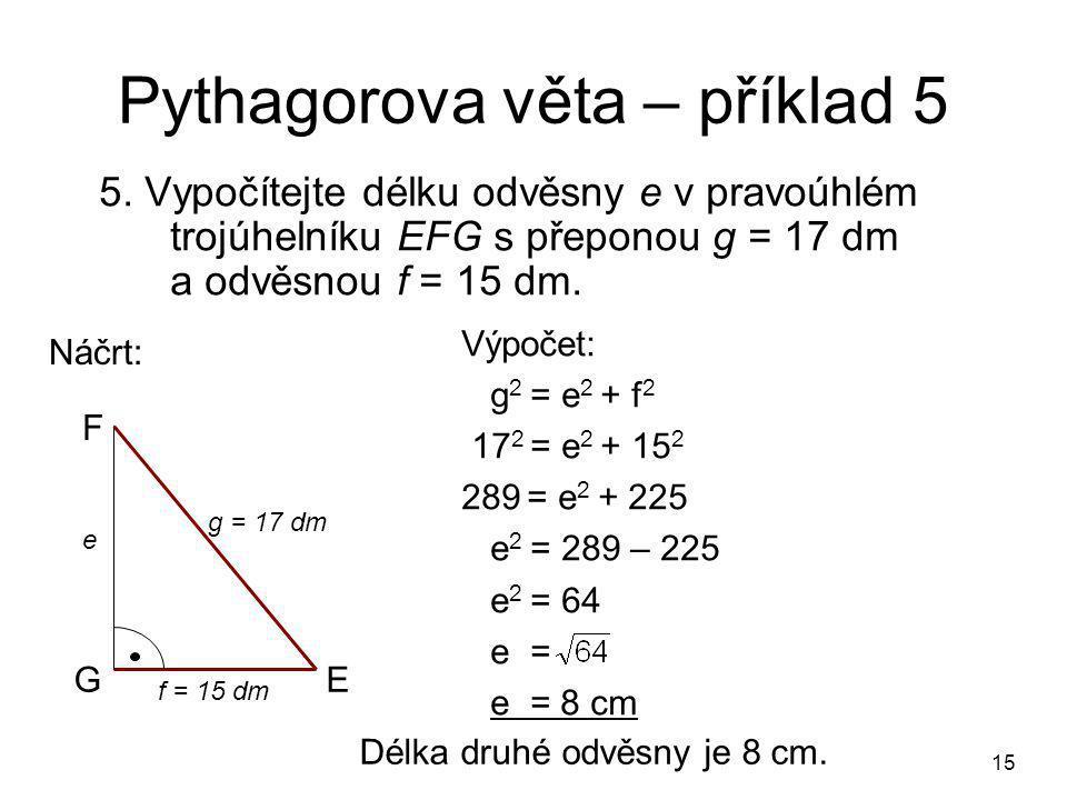 Pythagorova věta – příklad 5