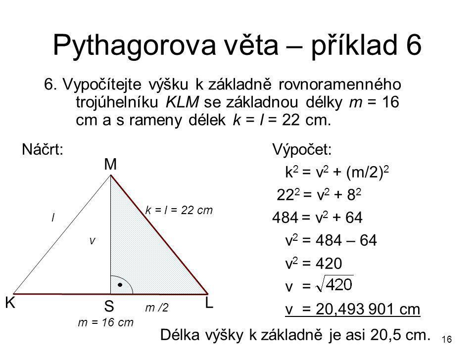 Pythagorova věta – příklad 6
