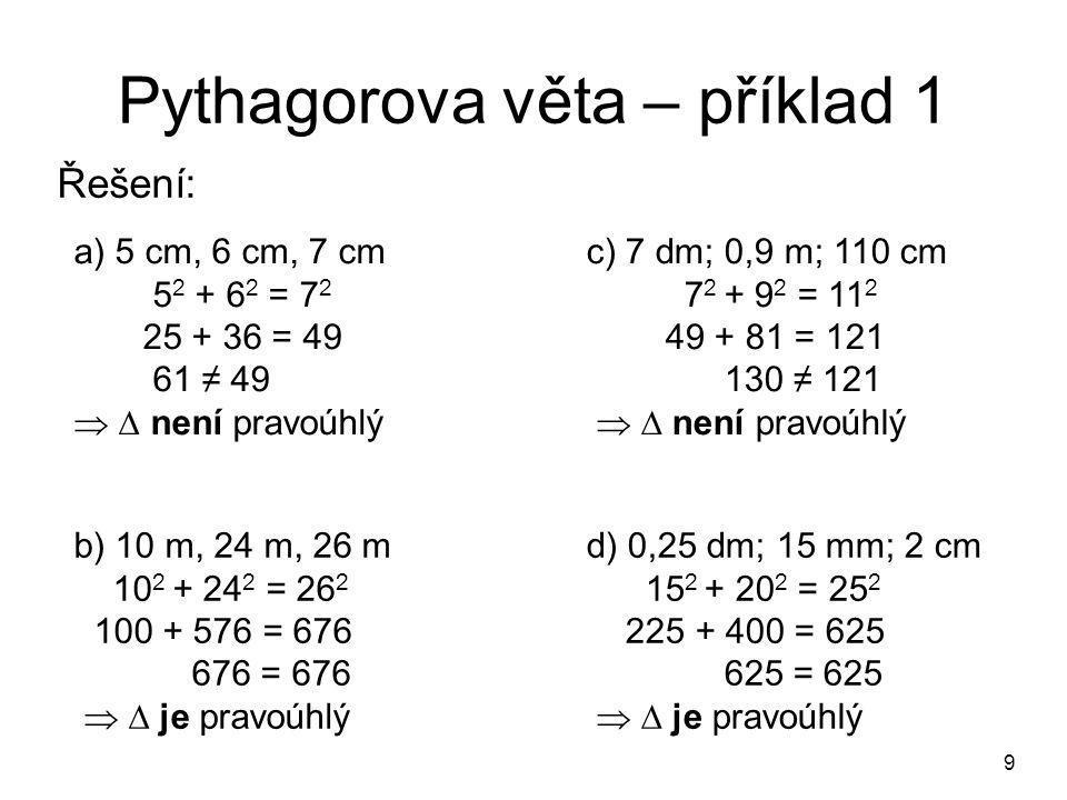 Pythagorova věta – příklad 1