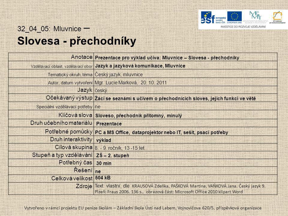 Slovesa - přechodníky 32_04_05: Mluvnice – Anotace Jazyk