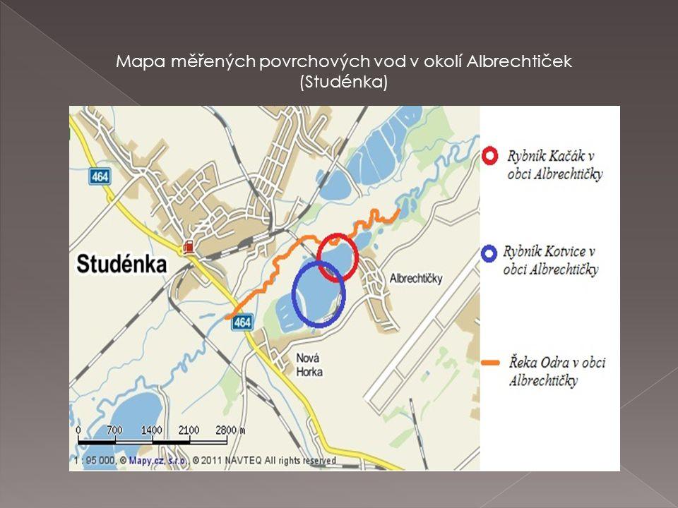 Mapa měřených povrchových vod v okolí Albrechtiček (Studénka)