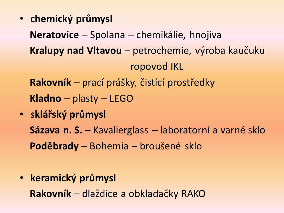 chemický průmysl Neratovice – Spolana – chemikálie, hnojiva. Kralupy nad Vltavou – petrochemie, výroba kaučuku.