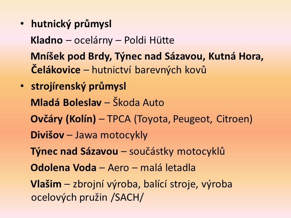 hutnický průmysl Kladno – ocelárny – Poldi Hütte. Mníšek pod Brdy, Týnec nad Sázavou, Kutná Hora, Čelákovice – hutnictví barevných kovů.